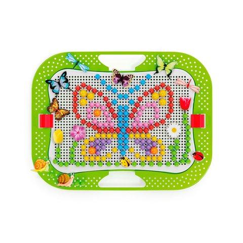 Набор для занятий мозаикой Quercetti (фишки 5/10/15/20 мм (300 шт.) + доска 28×20) Превью 2